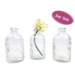 Glasvase Ornament, Klarglas Vase, H: 13 cm, 3er Set -...