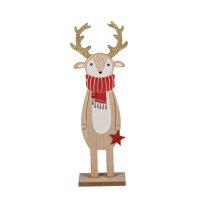 Geschenkanhänger Rentier aus Holz mit Fell Baumanhänger Baumhänger . 4er Set
