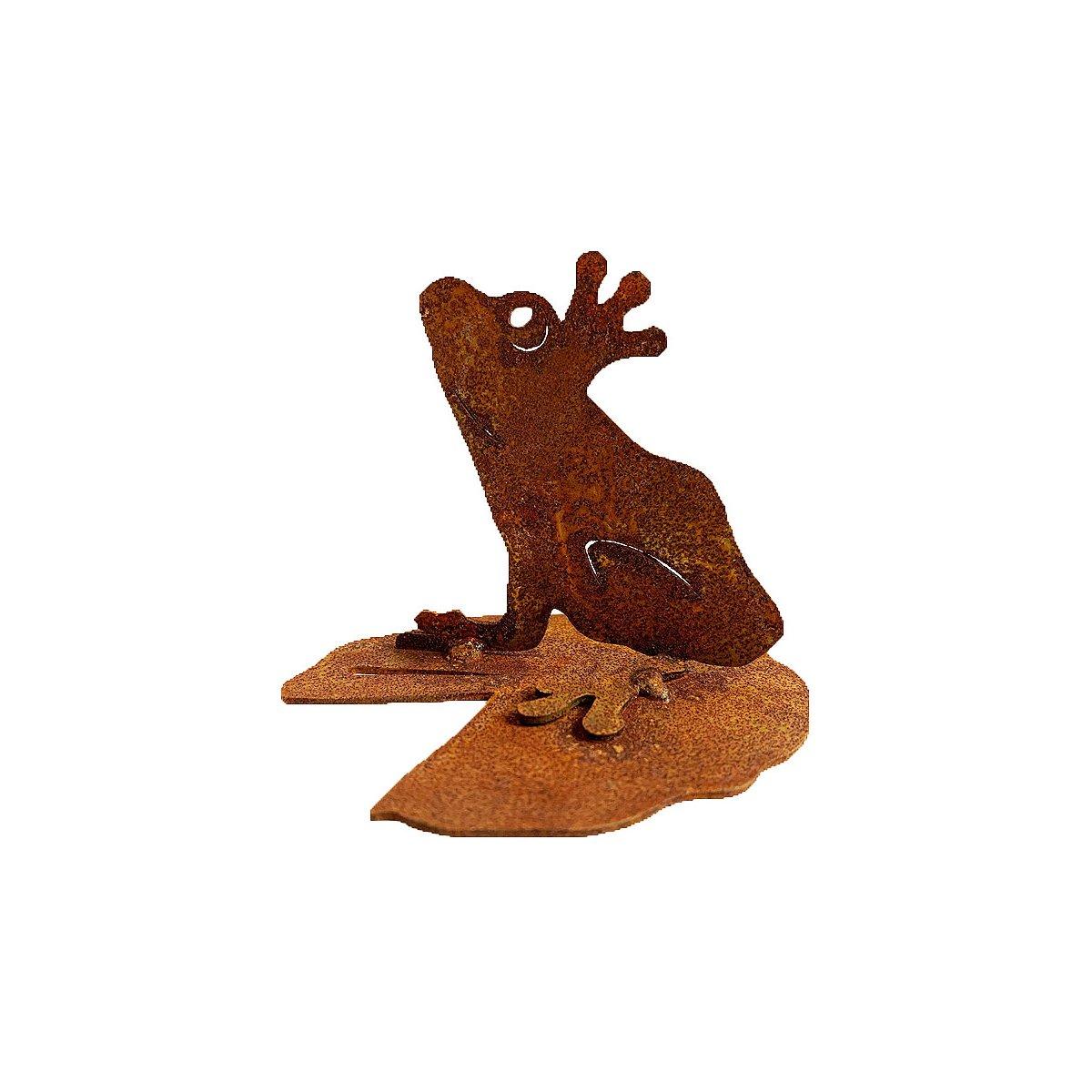 dekofigur frosch auf seerosenblatt im rost design 995